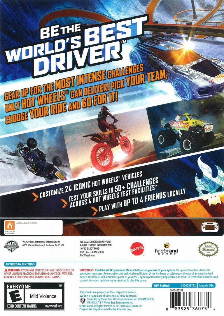Hot Wheels: World's Best Driver WiiU backHQ (AHWEWR)