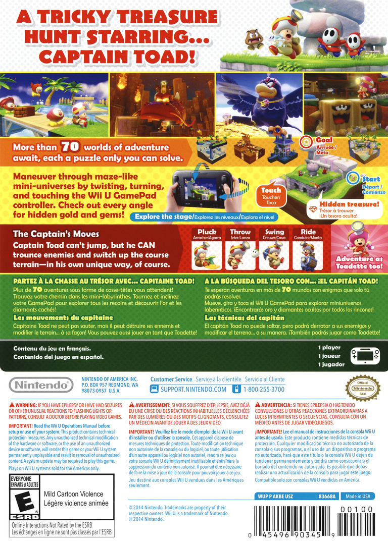Captain Toad: Treasure Tracker WiiU backHQ (AKBE01)