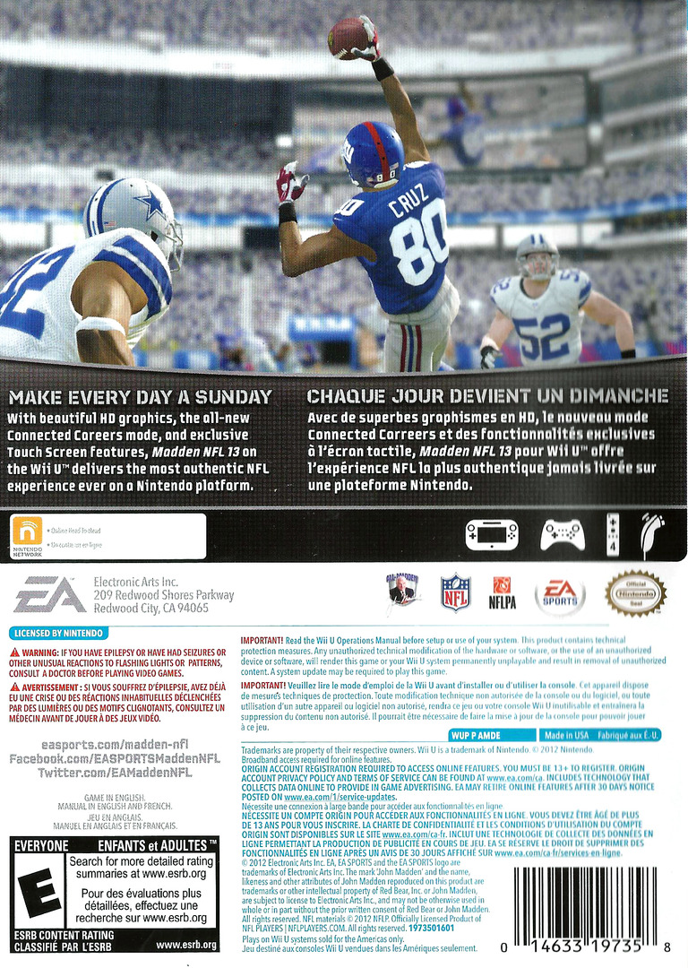 Madden NFL 13 WiiU backHQ (AMDE69)