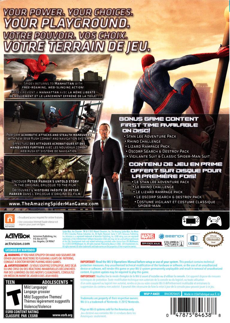The Amazing Spider-Man Ultimate Edition WiiU backHQ (AMZE52)