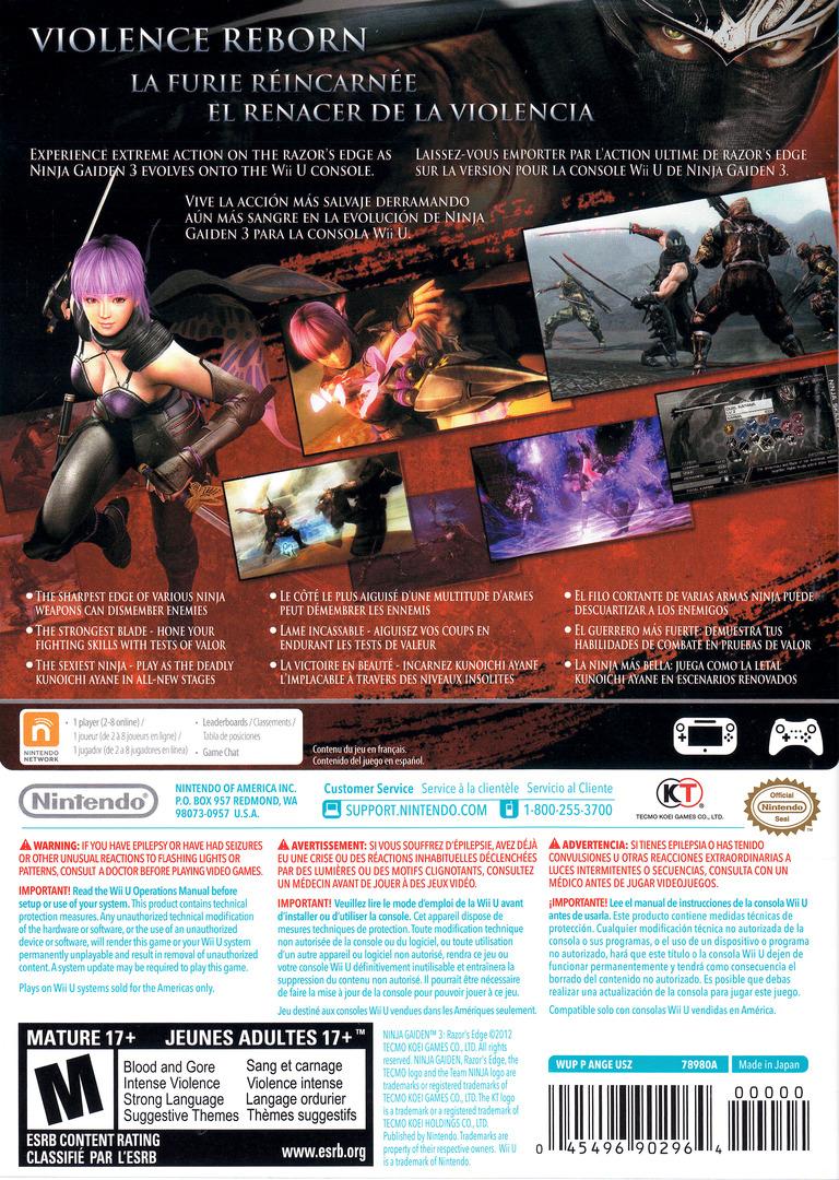 Ninja Gaiden 3: Razor's Edge WiiU backHQ (ANGE01)
