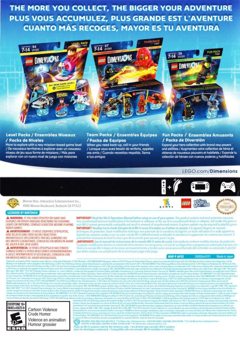 LEGO Dimensions WiiU backHQ (APZEWR)