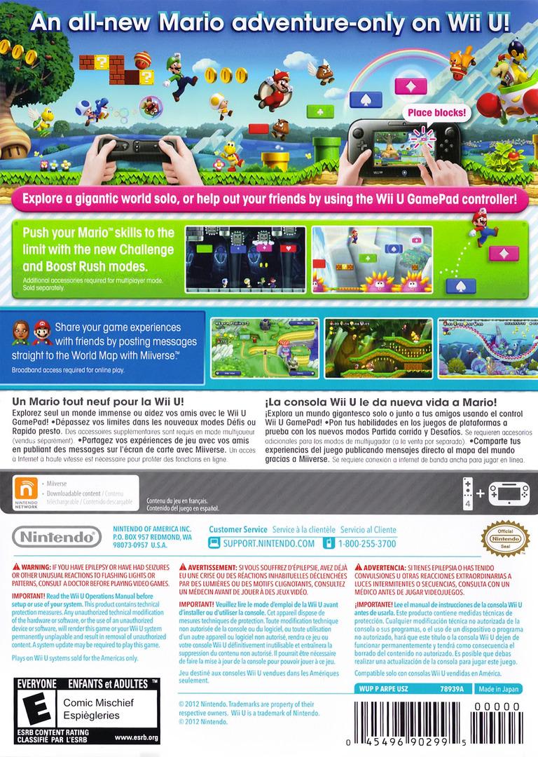New Super Mario Bros. U WiiU backHQ (ARPE01)
