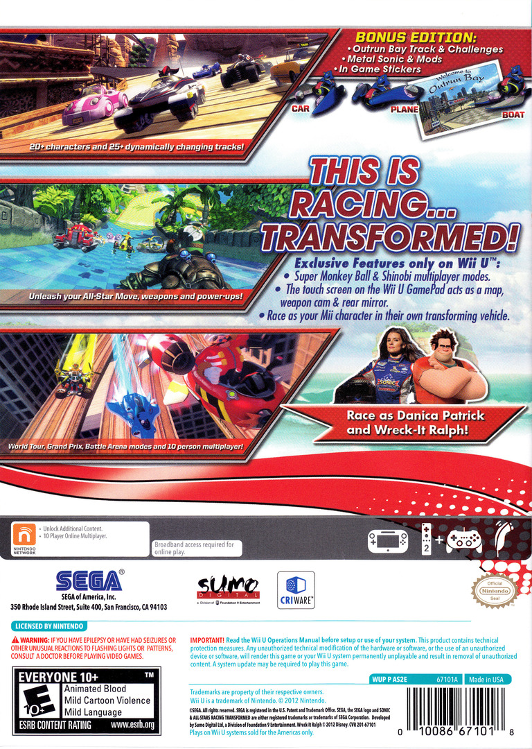 Sonic & All-Stars Racing Transformed WiiU backHQ (AS2E8P)