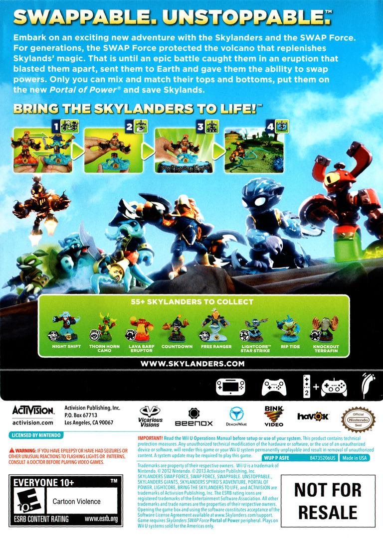 Skylanders: Swap Force WiiU backHQ (ASFE52)