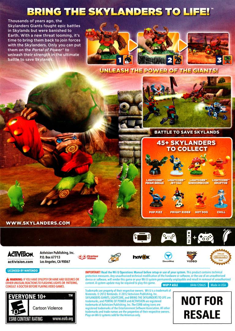 Skylanders: Giants WiiU backHQ (ASLE52)