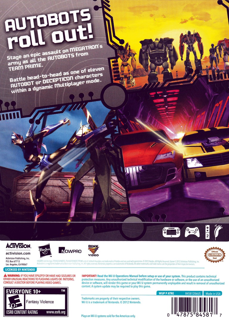 Transformers: Prime WiiU backHQ (ATRE52)