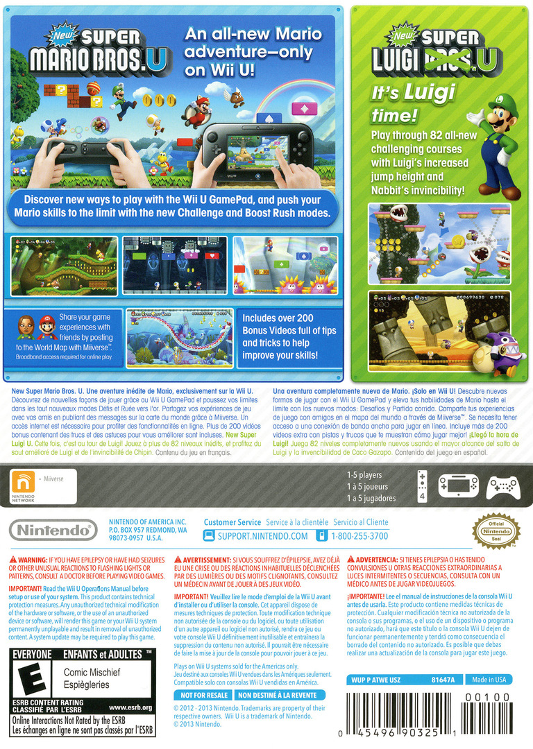 New Super Mario Bros. U + New Super Luigi U WiiU backHQ (ATWE01)
