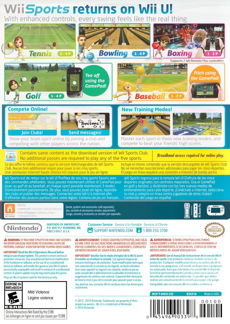 Wii Sports Club WiiU backHQ (AWSE01)