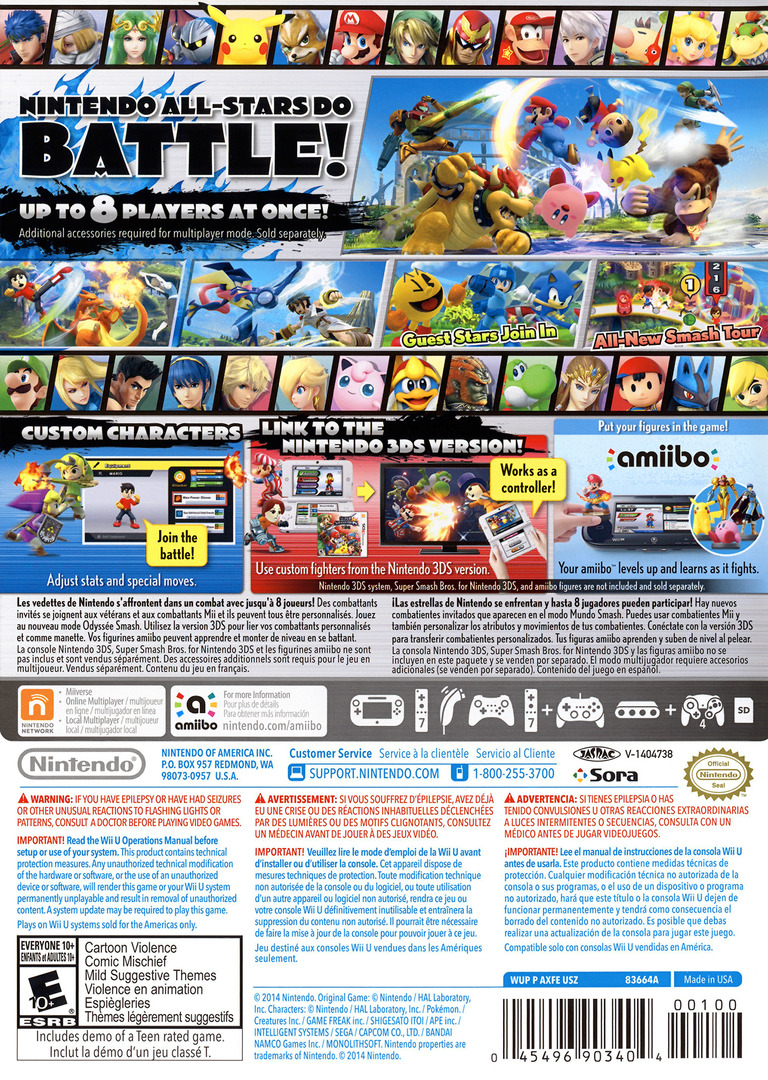 Super Smash Bros. for Wii U WiiU backHQ (AXFE01)