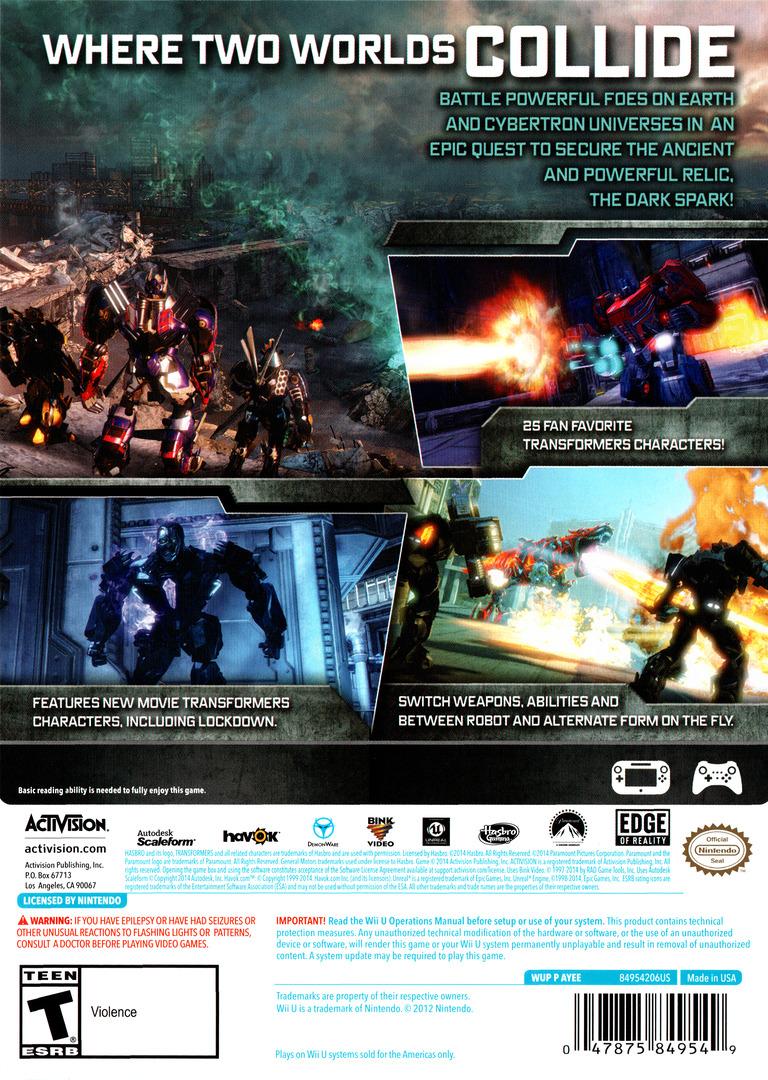 Transformers: Rise of the Dark Spark WiiU backHQ (AYEE52)