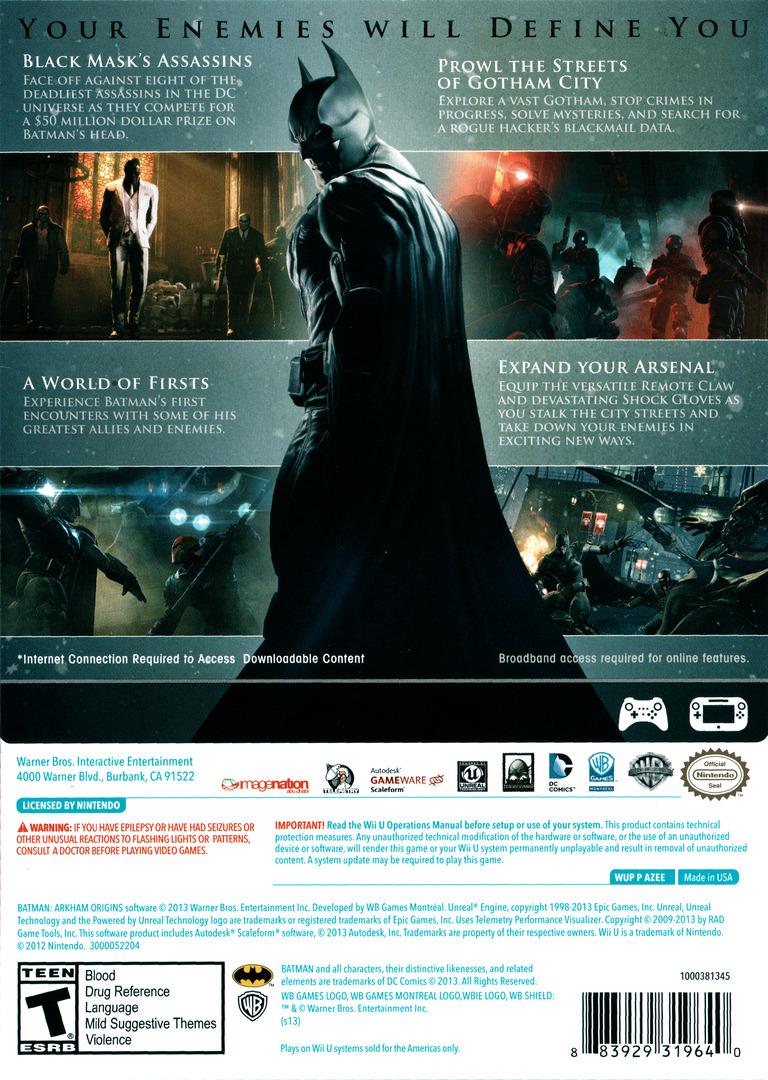 Batman:Arkham Origins WiiU backHQ (AZEEWR)