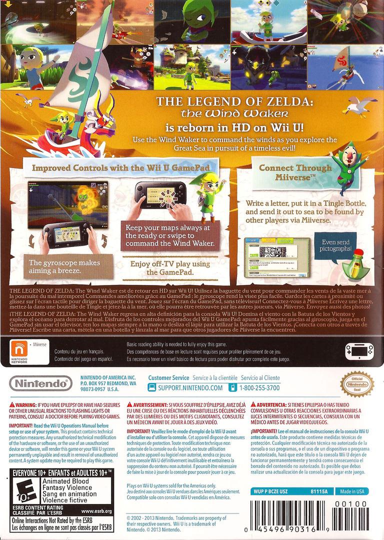 The Legend of Zelda: The Wind Waker HD WiiU backHQ (BCZE01)