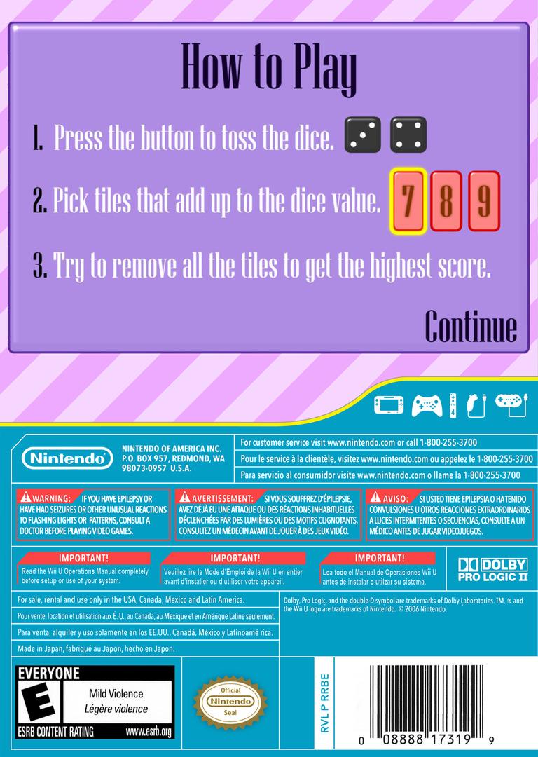 Shut the Box WiiU backHQ (BSHE)