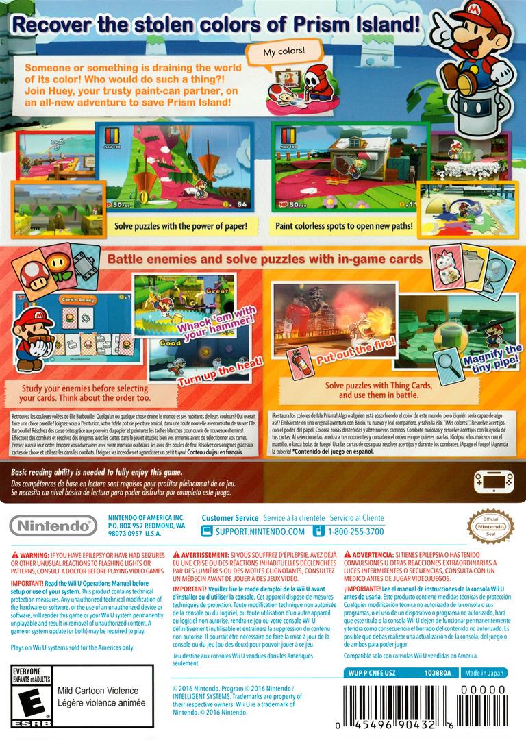 Paper Mario: Color Splash WiiU backHQ (CNFE01)