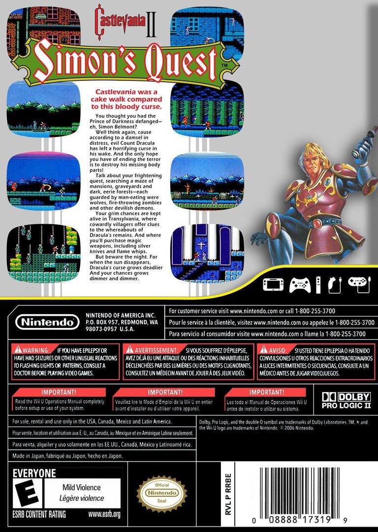 Castlevania II: Simon's Quest WiiU backHQ (FB8E)