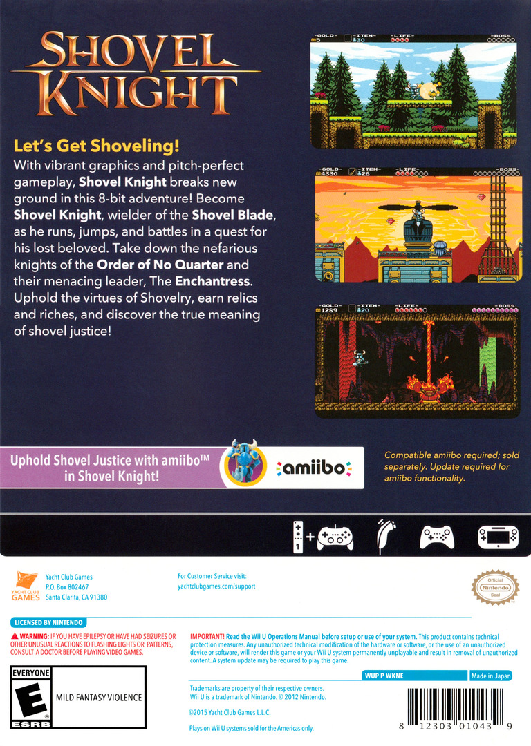 Shovel Knight WiiU backHQ (WKNEAY)