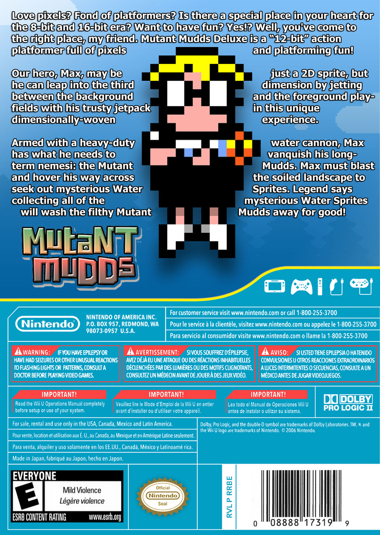Mutant Mudds Deluxe WiiU backHQ (WMME)