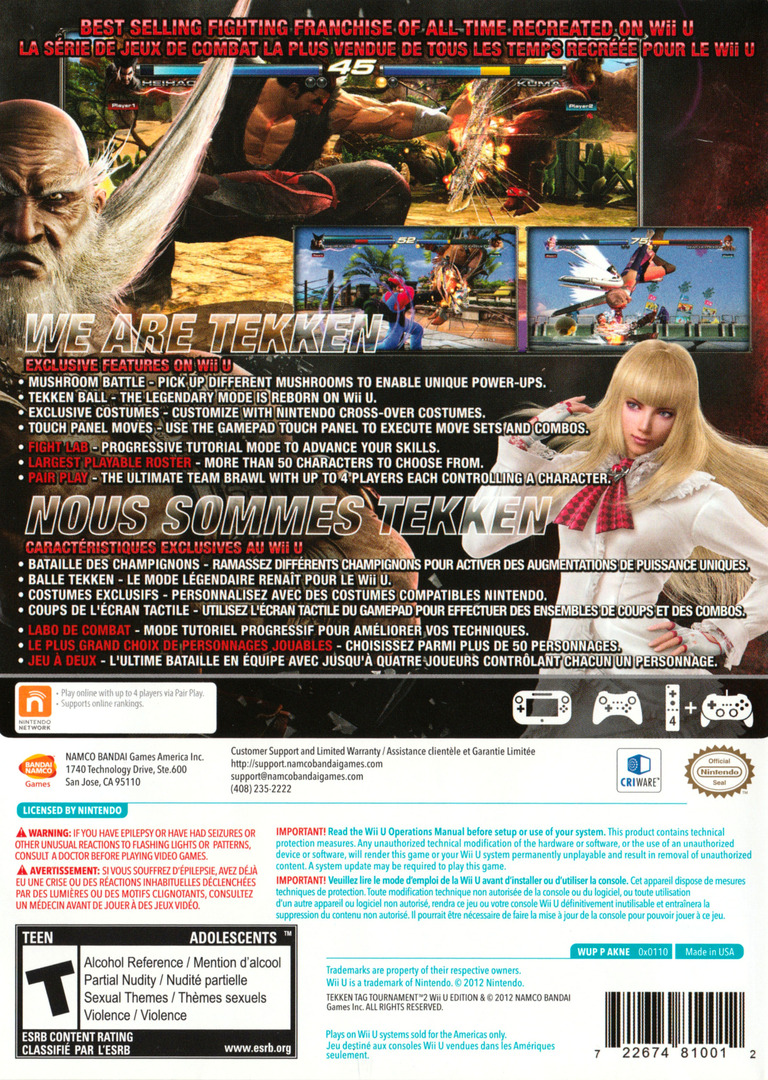 Tekken Tag Tournament 2 WiiU backHQ2 (AKNEAF)