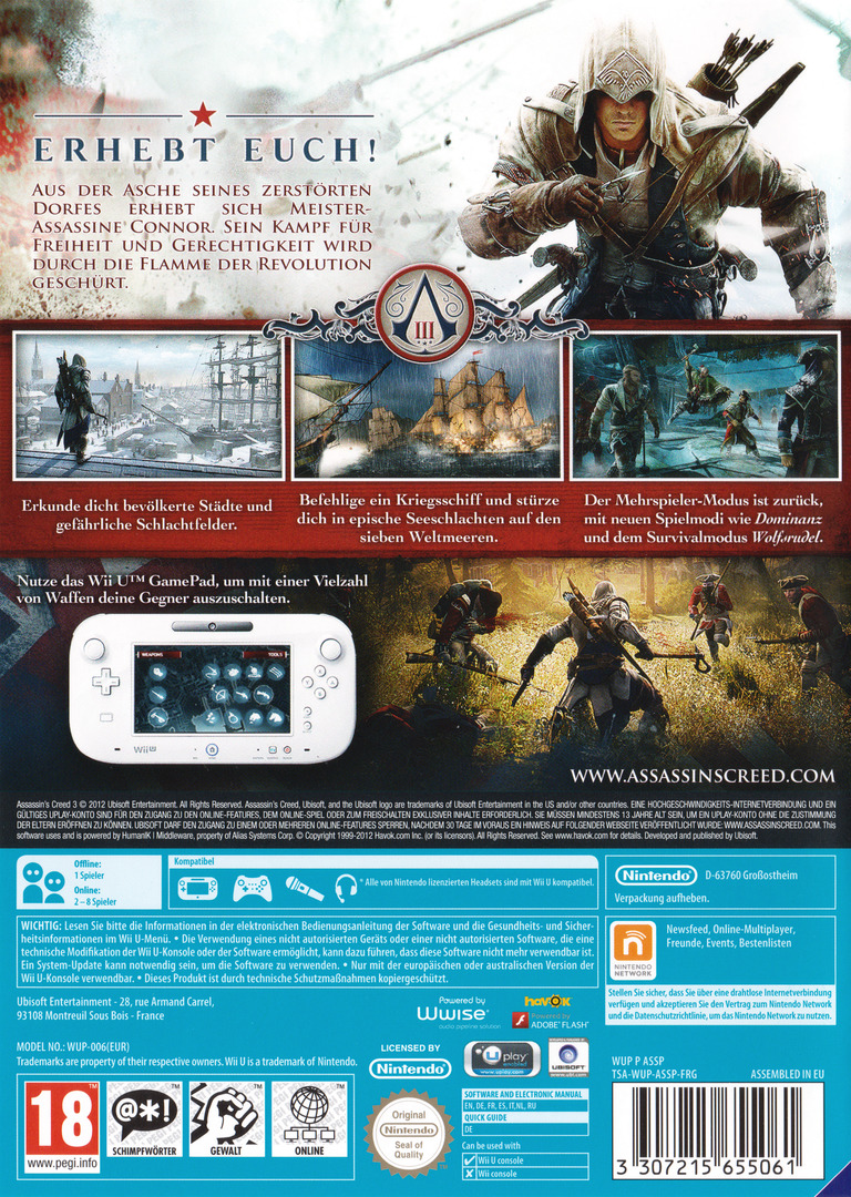 Assassin's Creed III WiiU backHQB (ASSP41)