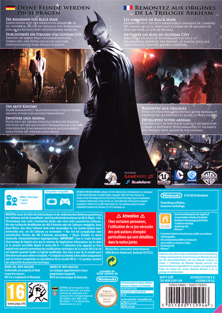 Batman : Arkham Origins WiiU backHQB (AZEPWR)