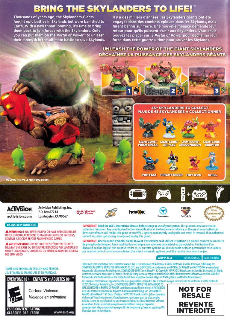 Skylanders: Giants WiiU backHQB (ASLE52)