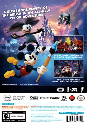 Disney Epic Mickey 2: The Power of Two WiiU backM (AEME4Q)