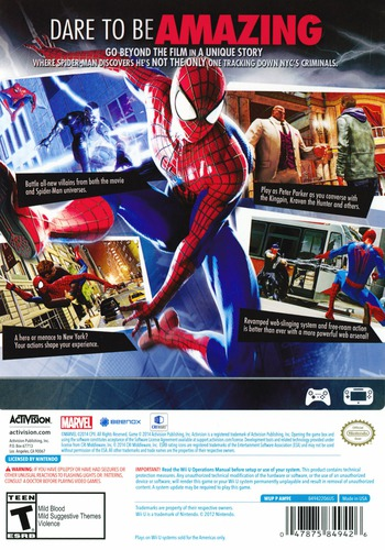 The Amazing Spider-Man 2 WiiU backM (AM9E52)