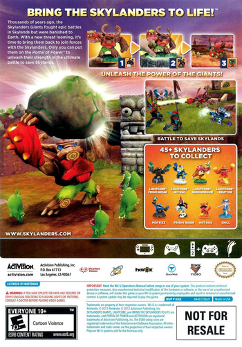 Skylanders: Giants WiiU backM (ASLE52)