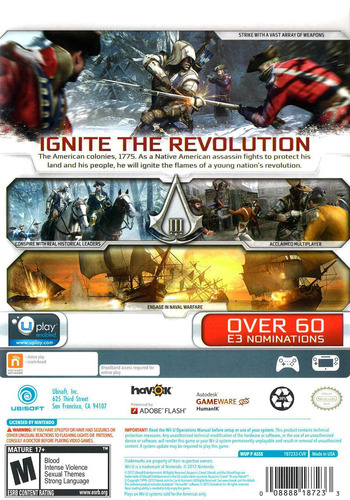 Assassin's Creed III WiiU backM (ASSE41)