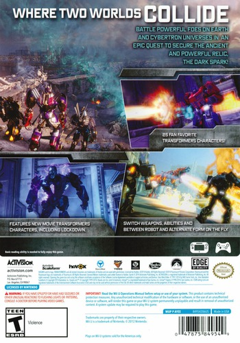 Transformers: Rise of the Dark Spark WiiU backM (AYEE52)