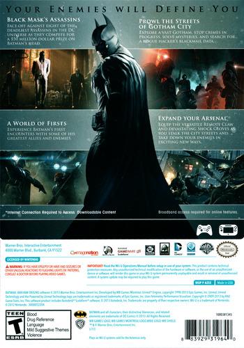 Batman:Arkham Origins WiiU backM (AZEEWR)