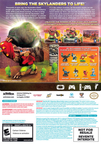 Skylanders: Giants WiiU backMB (ASLE52)