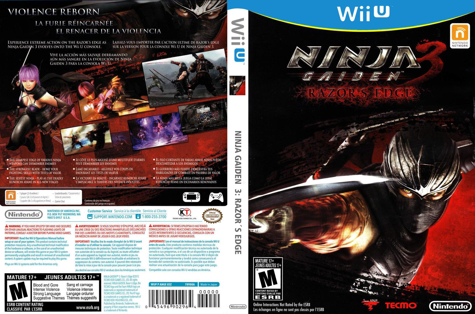Ninja Gaiden 3: Razor's Edge WiiU coverfullHQ (ANGE01)